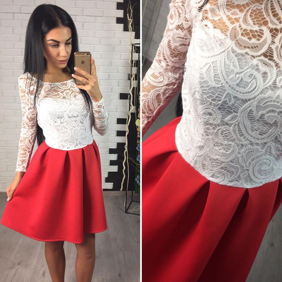 5784672cc4b Платье с открытой спиной кружево и неопрен 2 цвета SMol768 недорого ...
