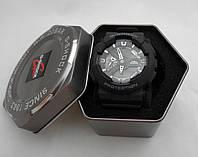 Часы противоударные G-Shock - GA-110RG, стальной бокс, черные с серебром