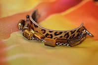 """Кожаный браслет унисекс с камнями  """"Тигровый глаз"""""""