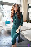 Роскошное платье миди с воротником-стойкой и пуговицами на планочке