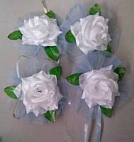 Цветы на ручки свадебного авто (белая роза+голубой фатин) 4 шт.