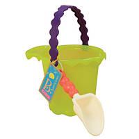 Набор для игры с песком и водой ВЕДЕРЦЕ С ЛОПАТКОЙ цвет лаймовый Battat (BX1432Z)