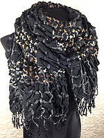Черный жатый шарф (цв 05)
