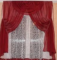 Кухонная занавеска (Стелла).Высота 1.6м Ширина на карниз 1.5 - 2м, фото 1