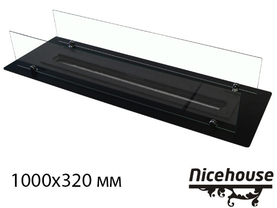 Биокамин Nice-House 1000x320 мм, черный, защитное стекло