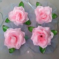 Цветы на ручки свадебного авто (розовая роза+голубой фатин) 4 шт.