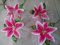 Цветы на ручки свадебного авто (розовая лилия) 4 шт.
