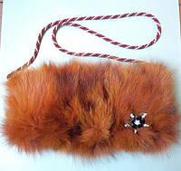 Сумка-муфта из натурального меха песца высокого качества окрашенного в рыжий цвет