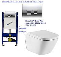 Roca The Gap Clean Rim 34H47C000 унитаз сидением с доводчиком + GEBERIT Duofix 458.126.00.1 + Delta 50 115.135.21.1 хром. Клавиша смыва
