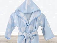 Детский махровый халат 3-4 года  Irya CLOUD голубой