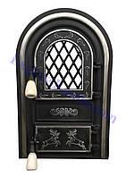 """Дверцы печные со стеклом """"Олени хром"""". Дверцы для кухни, барбекю"""
