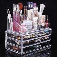 Акриловый органайзер для косметики настольный Cosmetic Organizer Makeup Container Storage Box 3 Drawer