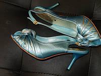 Босоножки женские кожаные 200-7 голубой