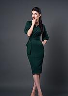 Трикотажное темно-зеленое платье