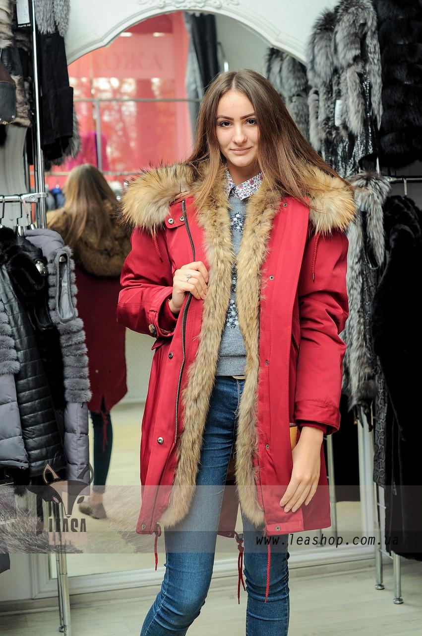 925e2c0a102 Женская зимняя парка с мехом енота - Женские шубы и меховые жилетки от  Украинского производителя