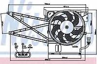 Диффузор радиатора охлаждения, в сборе с мотором и крыльчаткой (тип 1, см рис)  на Opel Vectra