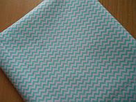 Лоскут ткани №235  с мини-зигзагом мятного цвета