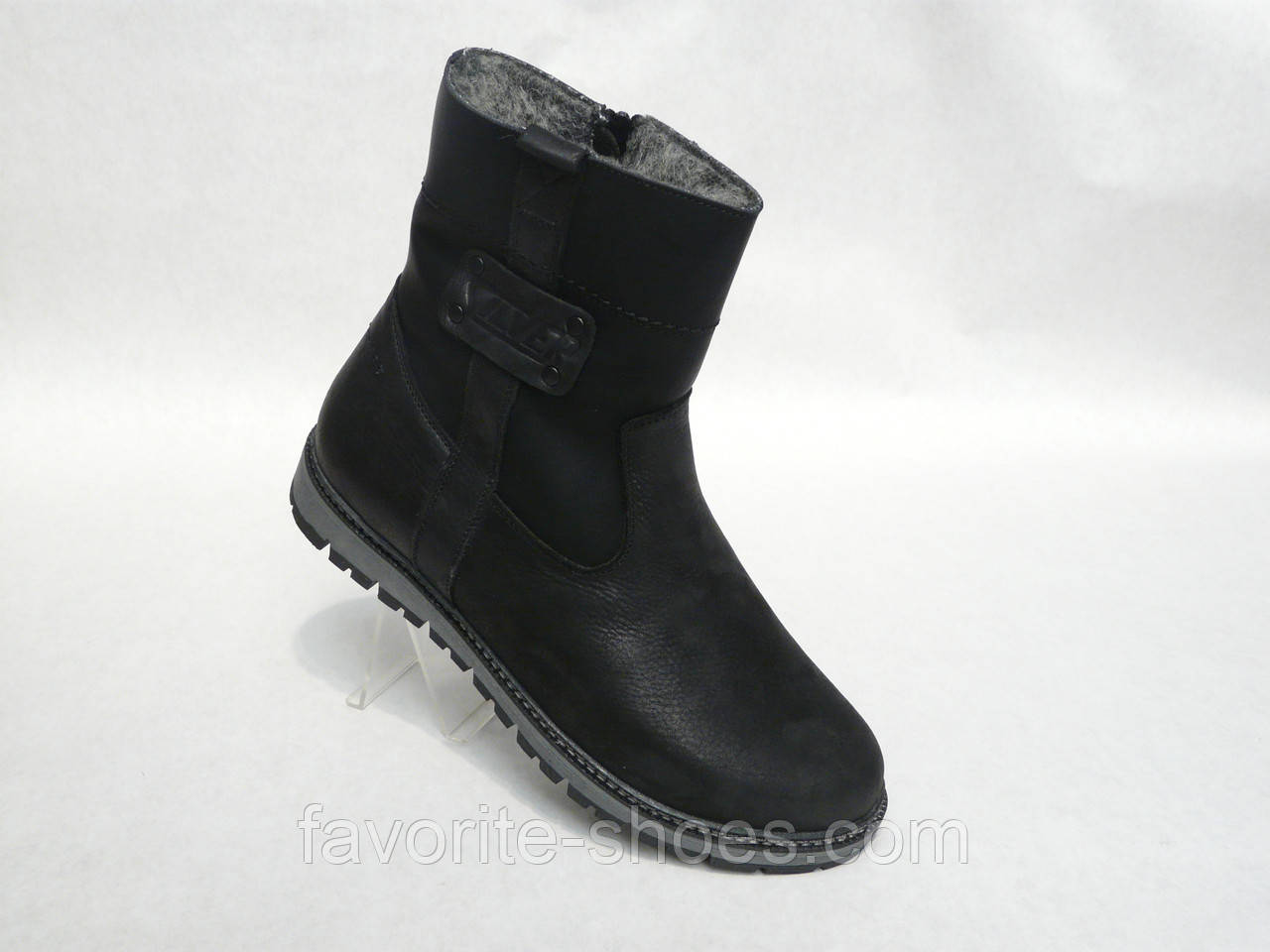 Зимние мужские кожаные ботинки сапоги Silver