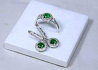 Набор Кольцо + Серьги серебро 925 проба Зеленый