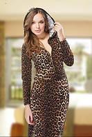 Леопардовое платье с молнией на лифе и капюшоном