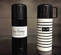 Термос TEA TIME Время чая Черный с белой полосой