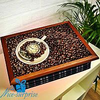 Поднос с подушкой Минутка для вкусного кофе