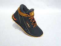 Зимние мужские кожаные кроссовки adidas черно-рыжий 40.41р.