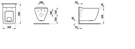 Унитаз подвесной 36*56см, горизонт смыв LAUFEN PALACE 8207020000001, фото 2