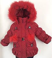 Детские теплые комбинезоны с подстежкой-овчинка для девочек 1-5 лет с натурал мехом