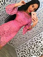 """Очень красивое, женское платье """"Хлопковое кружево, с расклешенными рукавами""""  фабричный Китай РАЗНЫЕ ЦВЕТА"""