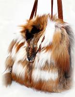 Cумка с ручками из натурального меха лисы высокого качества 35х30 см, фото 1