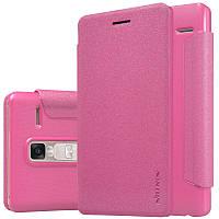 Кожаный чехол-книжка Nillkin Sparkle для LG H650E Zero / Class розовый