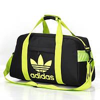 Спортивная сумка Adidas черная с салатовым логотипом