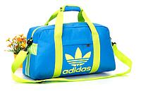 Спортивная сумка Adidas голубая с салатовым логотипом
