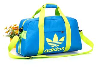 Спортивная сумка Adidas голубая с салатовым логотипом (реплика)