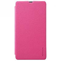 Кожаный чехол-книжка Nillkin Sparkle для Microsoft Lumia 540 розовый