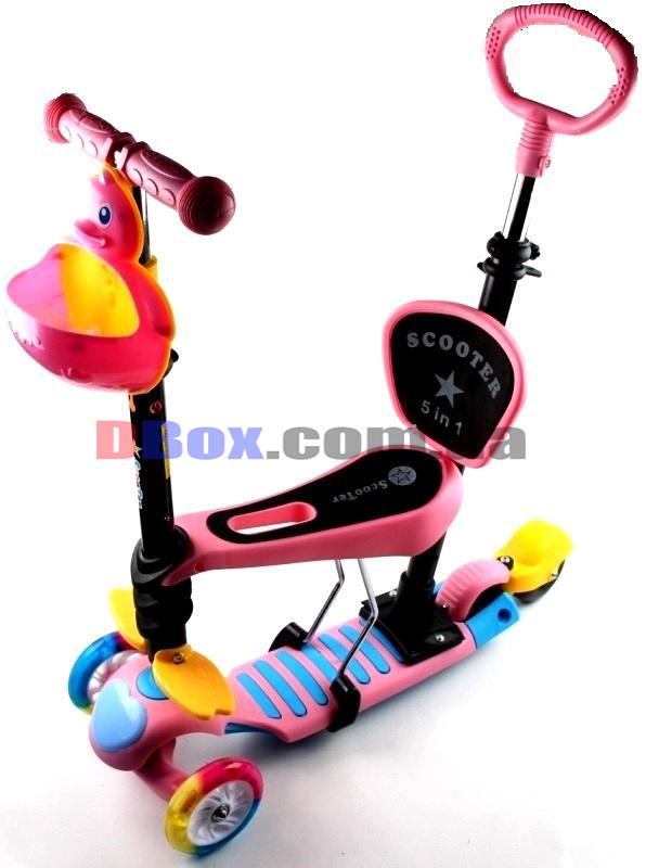 Самокат детский Scooter Утенок 5 in 1 сидушка корзинка родительская ручка плавающее колесо  Розовый (2T1030/WL/PK)