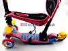 Самокат дитячий Scooter Каченя 5 in 1 сидушка кошик батьківська ручка плаваюче колесо Рожевий, фото 3