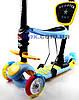 Самокат детский Scooter Утенок 5 in 1 сидушка корзинка родительская ручка плавающее колесо  Голубой (2T1030/WL/BL), фото 2