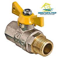 """Кран газовый шаровой в/н 1/2"""" рукоятка бабочка, никелированный,  VALTEC VALGAS VT.278.N"""