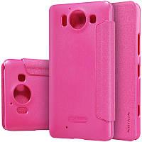 Кожаный чехол-книжка Nillkin Sparkle для Microsoft Lumia 950 розовый