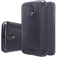 Кожаный чехол-книжка Nillkin Sparkle для Motorola Moto G4 / G4 Plus черный