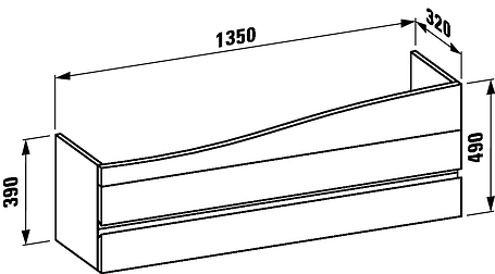 Тумба под умывальник 135*32см (цвет белый) LAUFEN ALESSI ONEvolution (4243600976311), фото 2