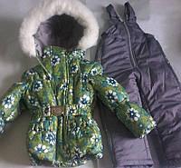Детские теплые комбинезоны с подстежкой-овчинка для девочек 1-5 лет цветы зеленый