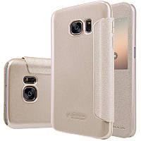 Кожаный чехол-книжка Nillkin Sparkle для Samsung G930F Galaxy S7 золотой