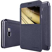 Кожаный чехол-книжка Nillkin Sparkle для Samsung Galaxy C7 черный