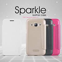 Кожаный чехол-книжка Nillkin Sparkle для Samsung Galaxy J1 Duos SM-J100 белый