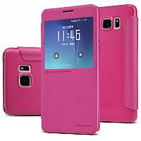 Кожаный чехол-книжка Nillkin Sparkle для Samsung Galaxy Note 5 розовый
