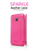 Кожаный чехол-книжка Nillkin Sparkle для Samsung Galaxy J1 Duos SM-J100 розовый