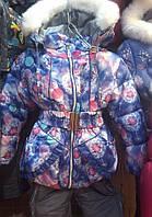 Детские теплые комбинезоны с подстежкой-овчинка для девочек 1-5 лет лиловый одуванчик